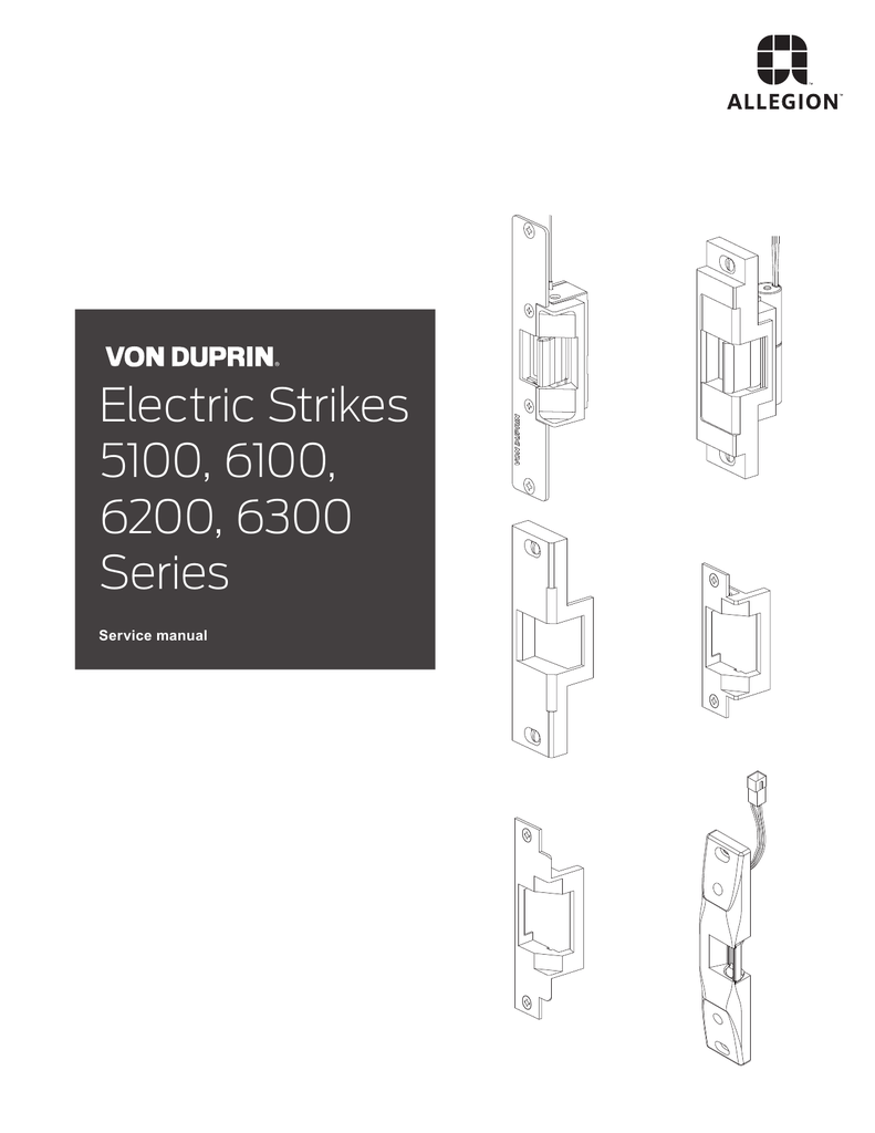 electric strikes 5100 6100 6200 6300 series rh studylib net Von Duprin 6100 Von Duprin 6111
