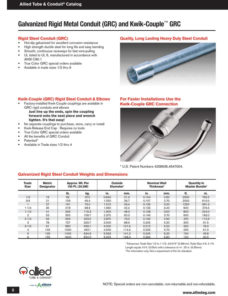 Galvanized Rigid Metal Conduit (GRC) and Kwik