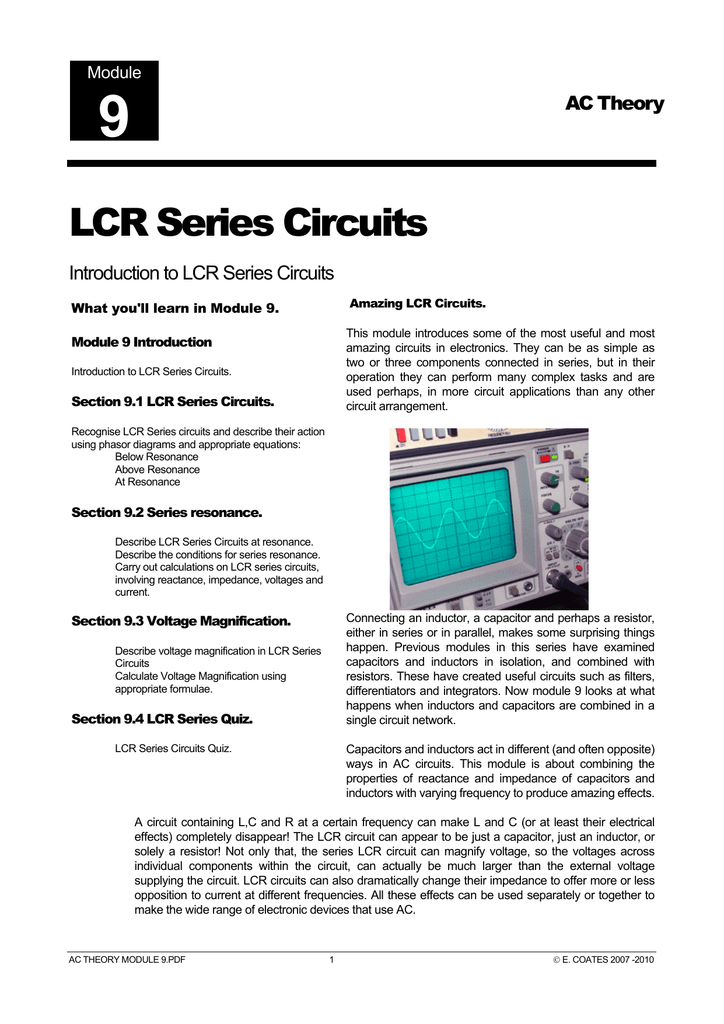 LCR Series Circuits - Learn About Electronics
