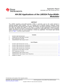 Applications of the LM3524 Pulse Width Modulator (Rev. B) PDF