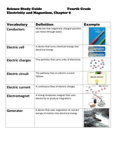 Conductors Electric cell Electric circuit Electromagnet Generator