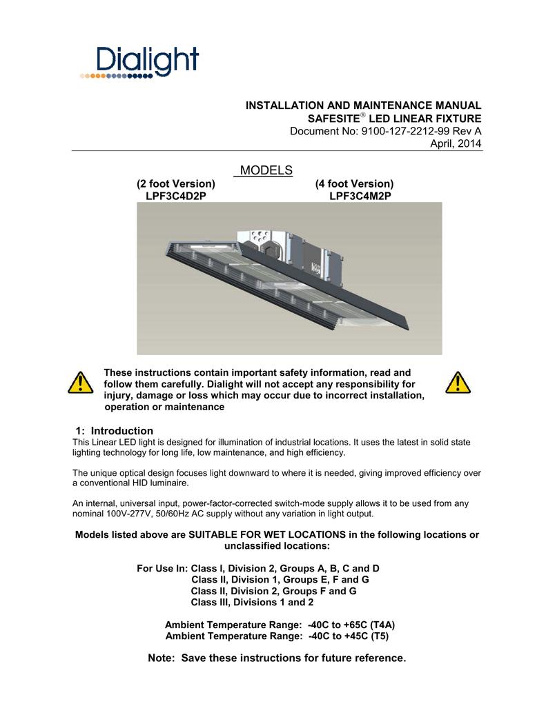Safesite Led Linear Installation Manual