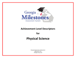 Physical Science - Georgia Department of Education