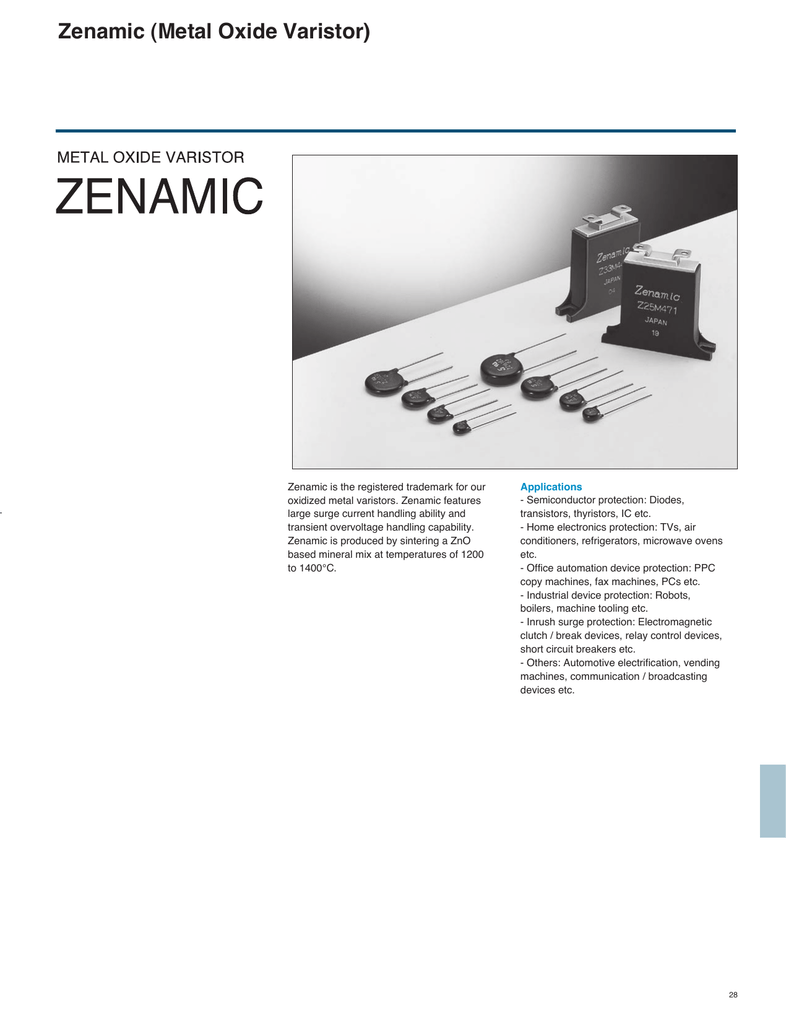 Zenamic Metal Oxide Varistor Protection Circuit For Thyristor Images