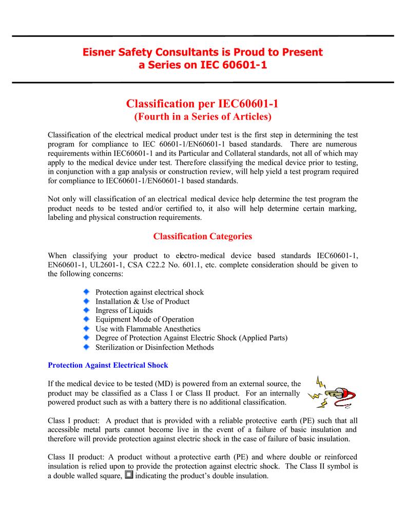 Classification per iec60601 1 biocorpaavc