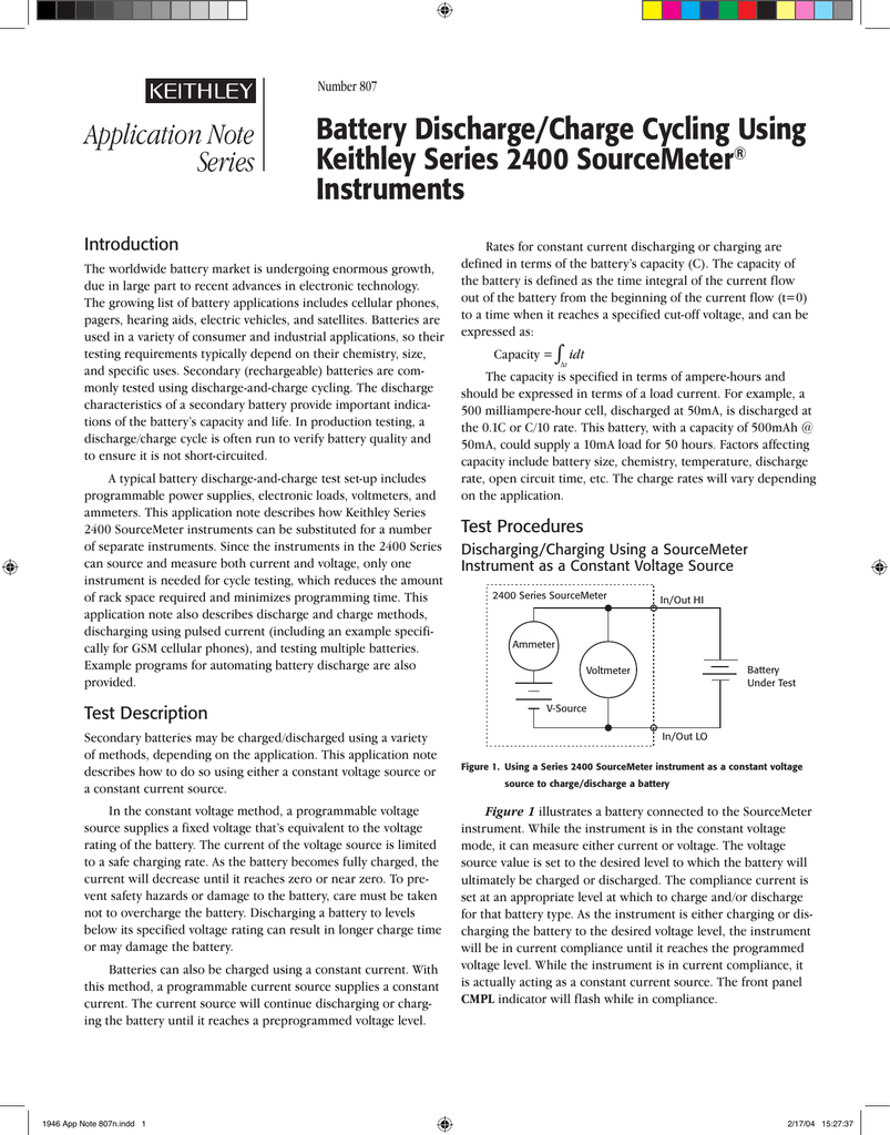 807 Battery Discharge Charge Cycling Using Keithley Series 2400 The Distance Between Connection Of Side Ammeter