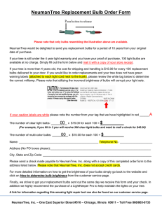 NeumanTree Replacement Bulb Order Form