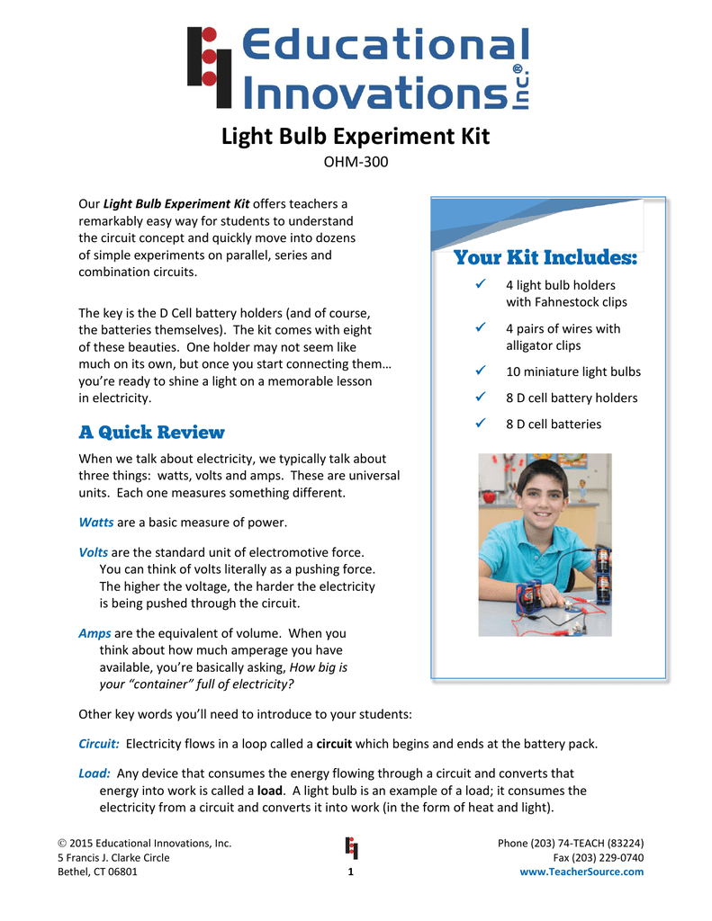Light Bulb Experiment Kit on