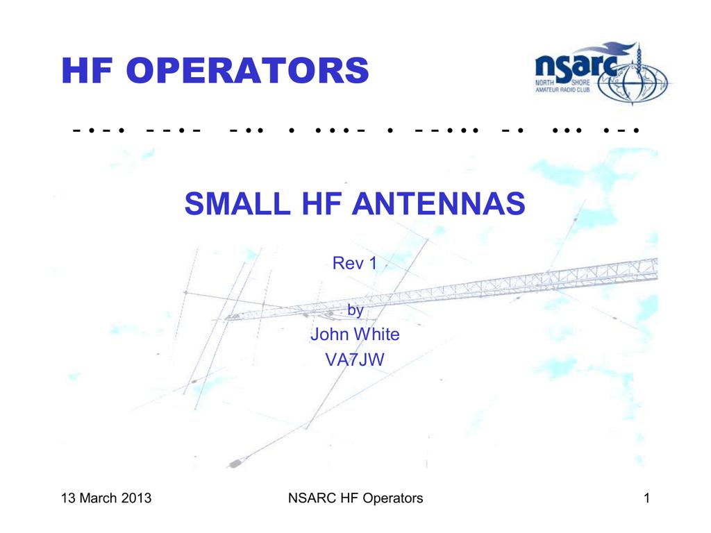 Small HF Antennas