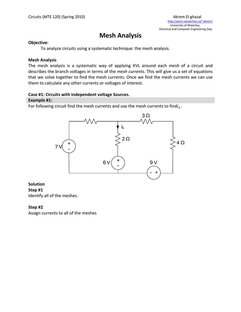 Mesh Analysis University Of Waterloo Logic Gate Diagram Created From Analytical Formulas