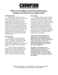 What are the differences between Emergency, Standby and Prime