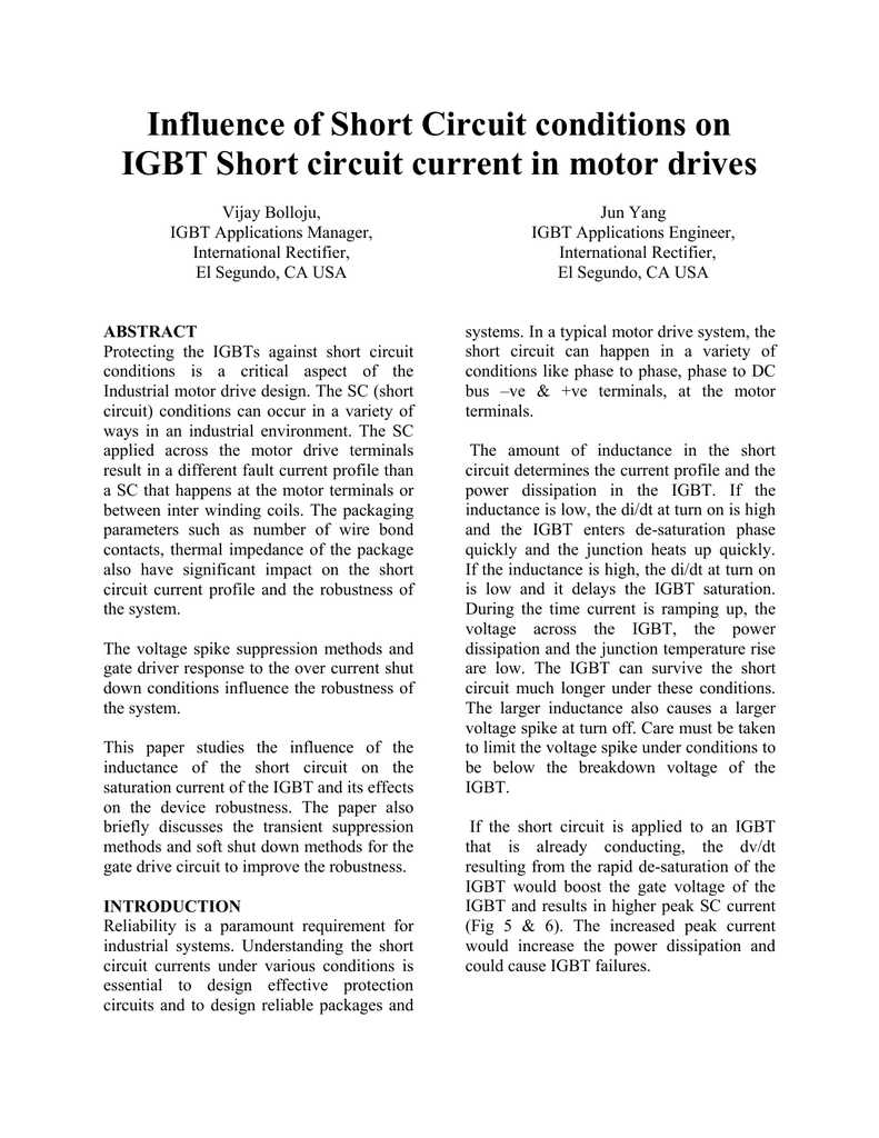 Influence Of Short Circuit Conditions On Igbt Dc Protection Circuits