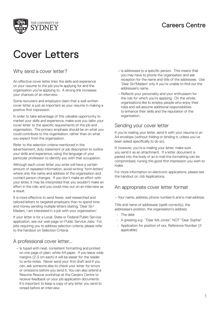 Cover Letters The University Of Sydney