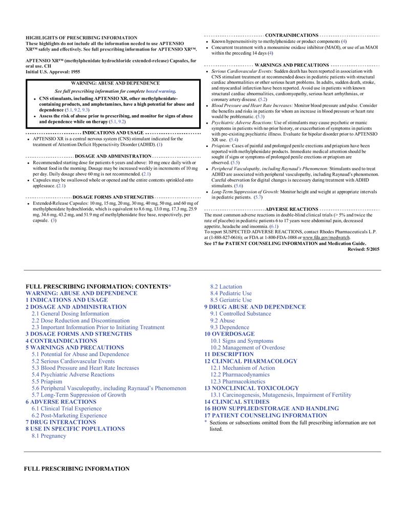 Aptensio XR Full Prescribing Information