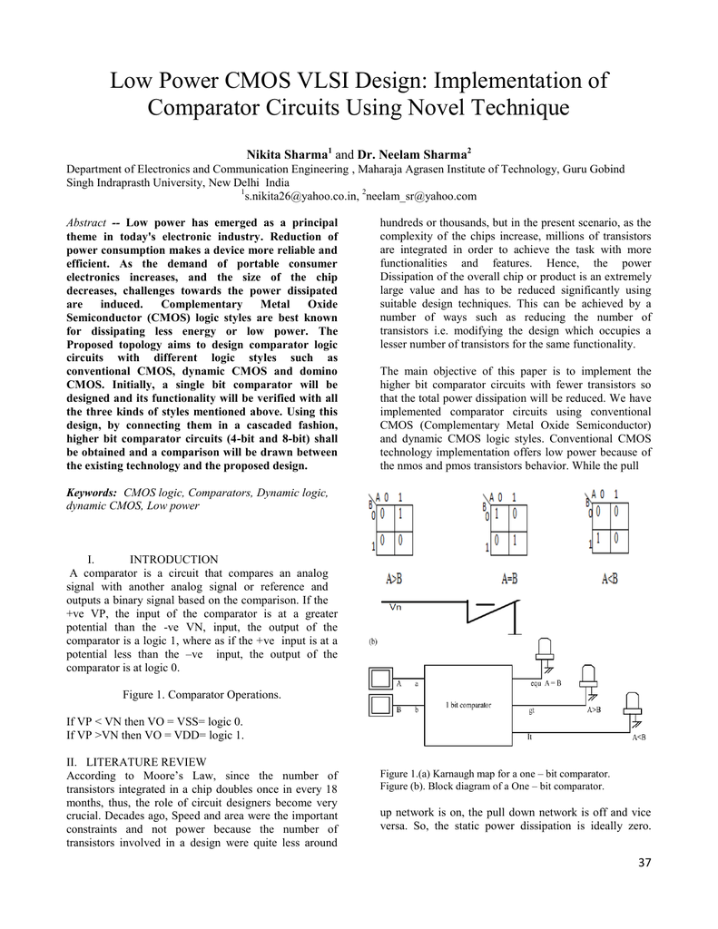 Low Power Cmos Vlsi Design 8 Bit Comparator Circuit Diagram