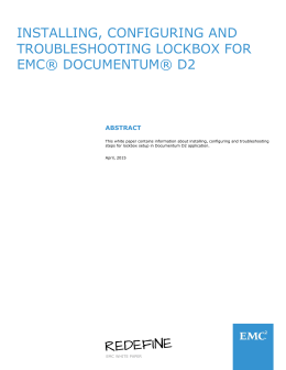 Installing, Configuring and Troubleshooting Lockbox for EMC
