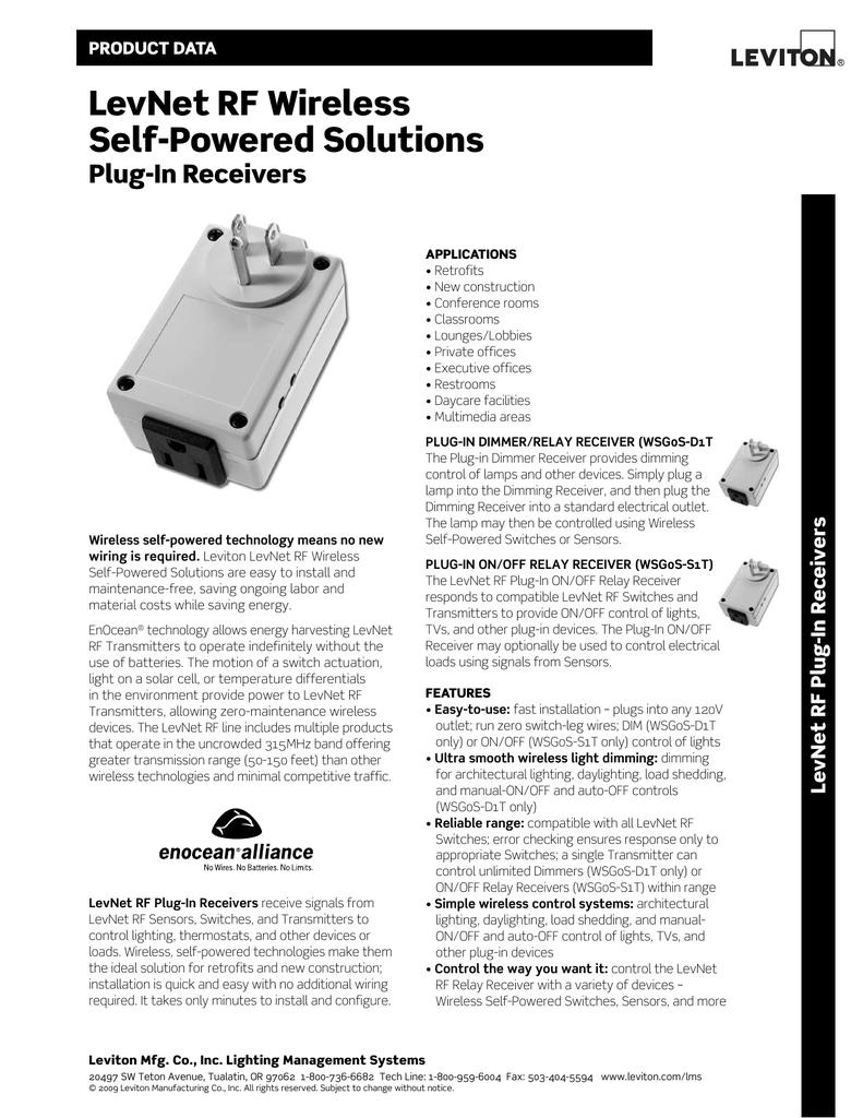 LevNet rF Wireless Self-powered Solutions