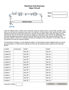 Electrical Unit Exercise Open Circuit