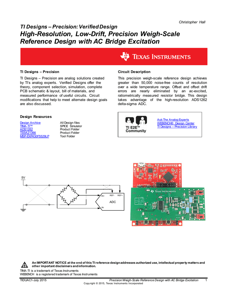 Precision Weigh-Scale Reference Design with AC Bridge Excitation