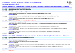 Evaluation of Educational Policies Barcelona, September 8 - 9