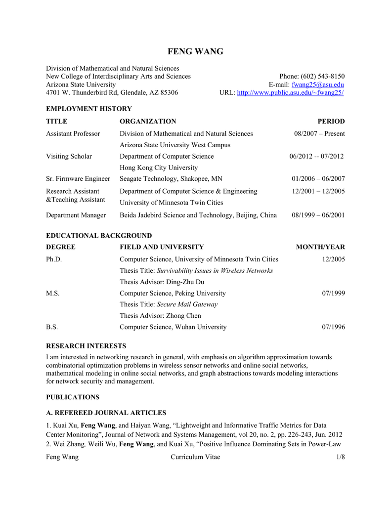 Curriculum Vitae Arizona State University