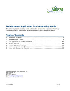 Web Browser Application Troubleshooting Guide - NMFTA