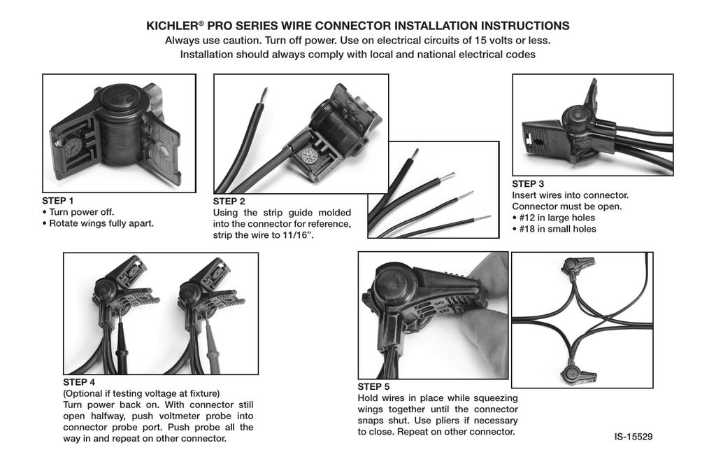 kichler pro series wire connector installation instructions rh studylib net kichler lighting wiring diagram kichler photocell wiring diagram