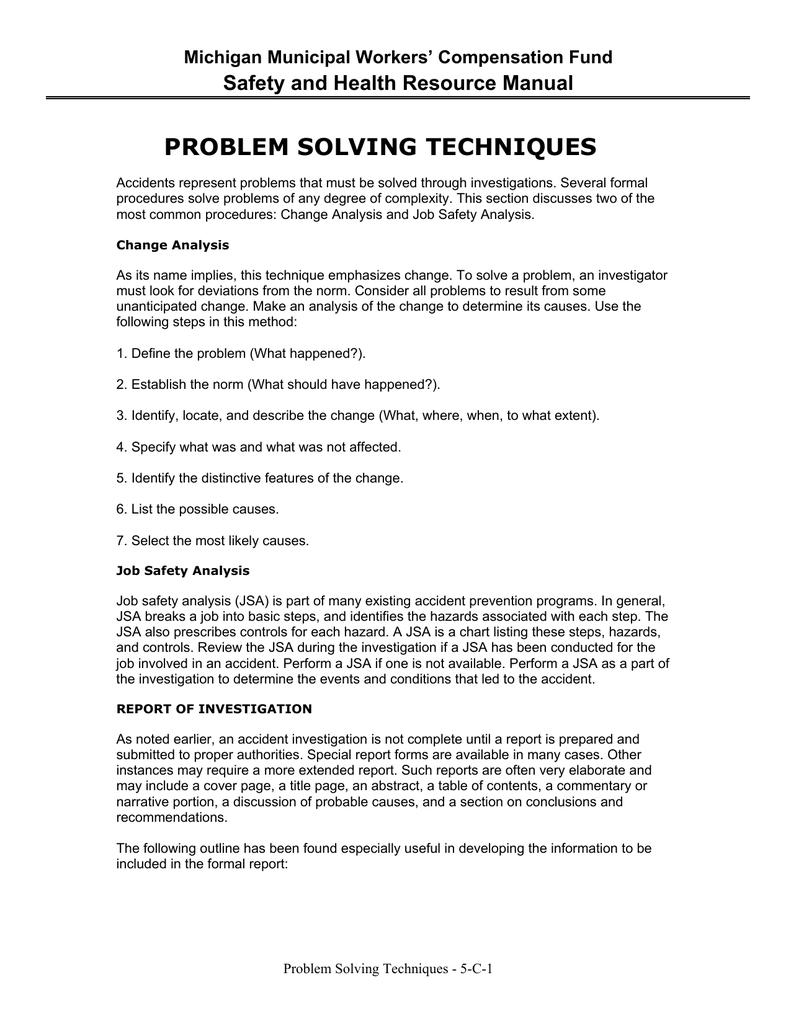 problem solving techniques michigan municipal league