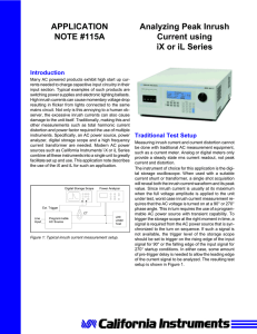 Analyzing Peak Inrush Current using iX or iL Series