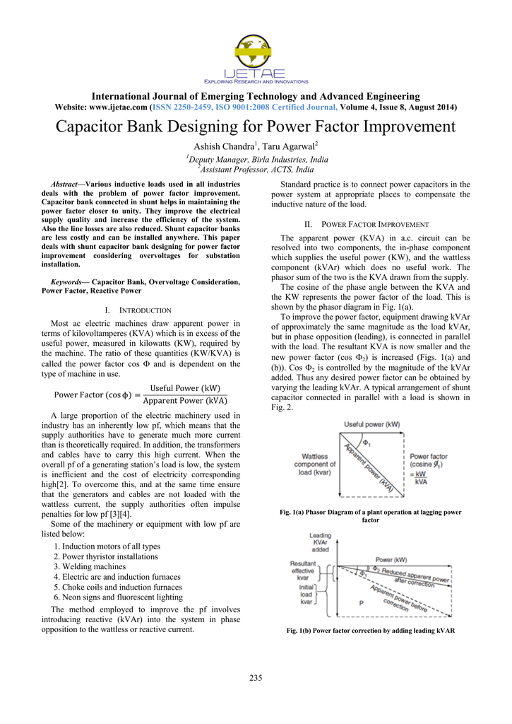 Capacitor Bank Designing For Power Factor Improvement
