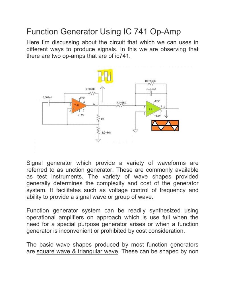 Function Generator Using Ic 741 Op Amp Opamp Multivibrator