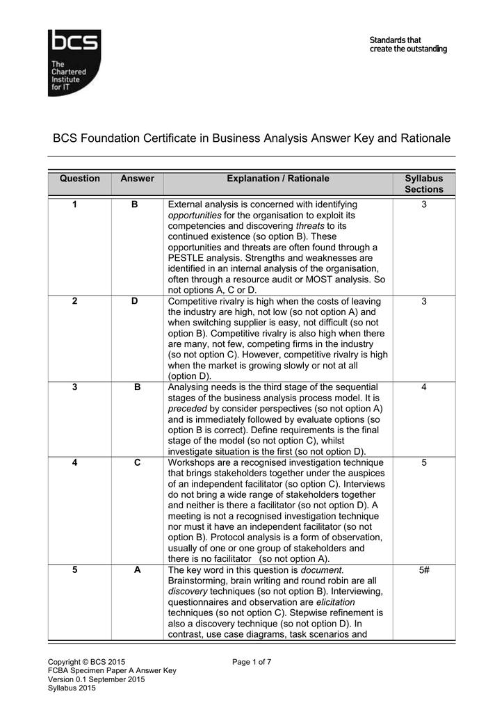 Answer Key Bcs Certifications
