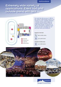 Extremely wide variety of applications: Event hall and outside arena