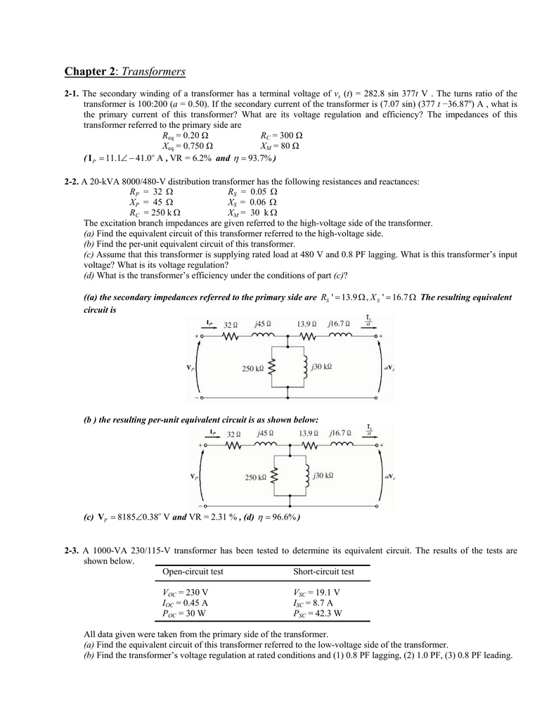 Solution Chapter 2 Short Circuit Test Open And