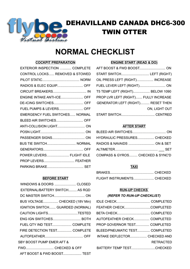 Twin Otter Normal Checklist