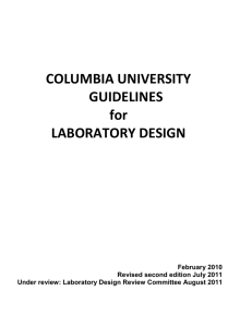 COLUMBIA UNIVERSITY GUIDELINES for LABORATORY DESIGN
