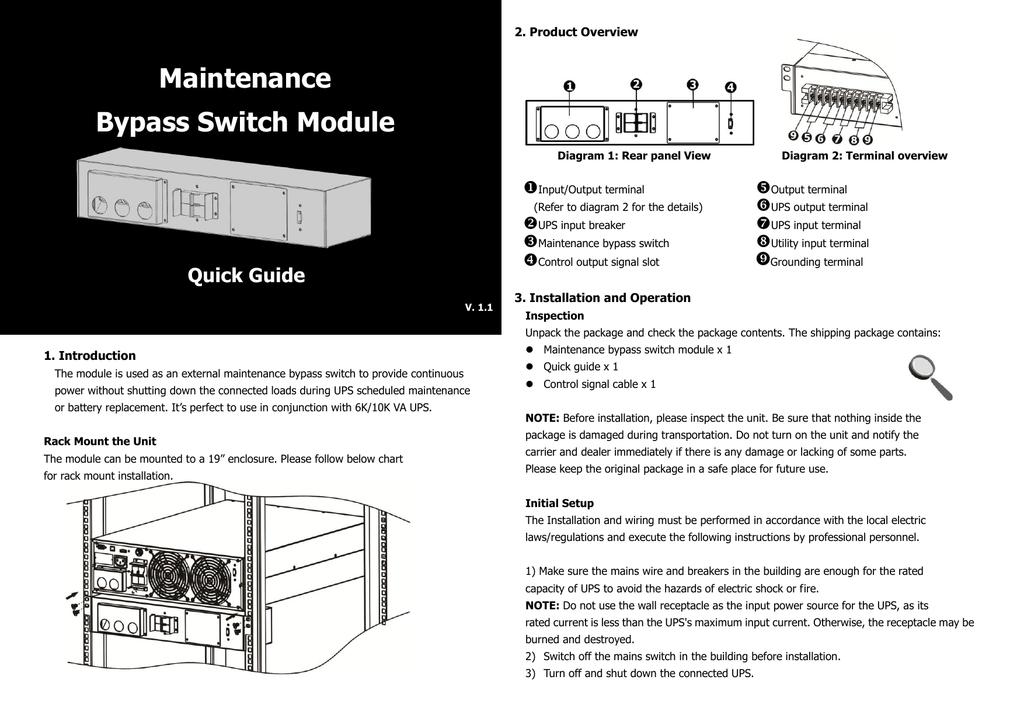 Maintenance Bypass Switch Module