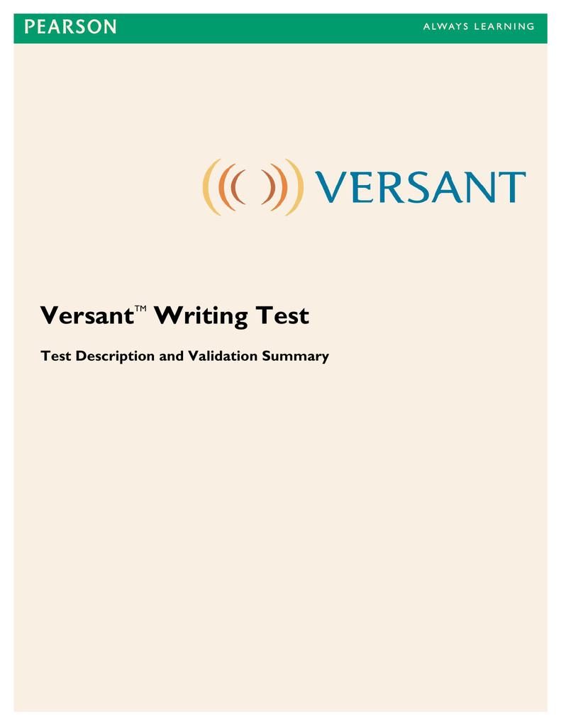 Versant Writing-TestDescriptionValidationSummary