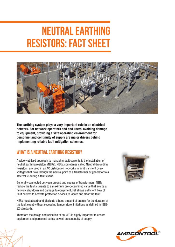 NEUTRAL EARTHING RESISTORS: fact sheet