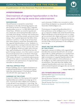 Overtreatment of congenital hypothyroidism in the first two years of