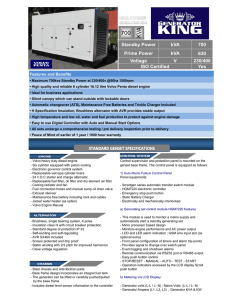 kVA kVA 700 630 230/400 Yes Standby Power