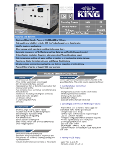 kVA kVA 80 74 230/400 Yes Standby Power