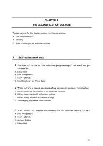 CHAPTER 2 THE MEANING(S) OF CULTURE A: Self