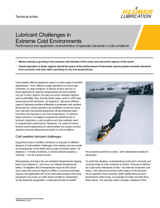 Lubricant Challenges in Extreme Cold Environments
