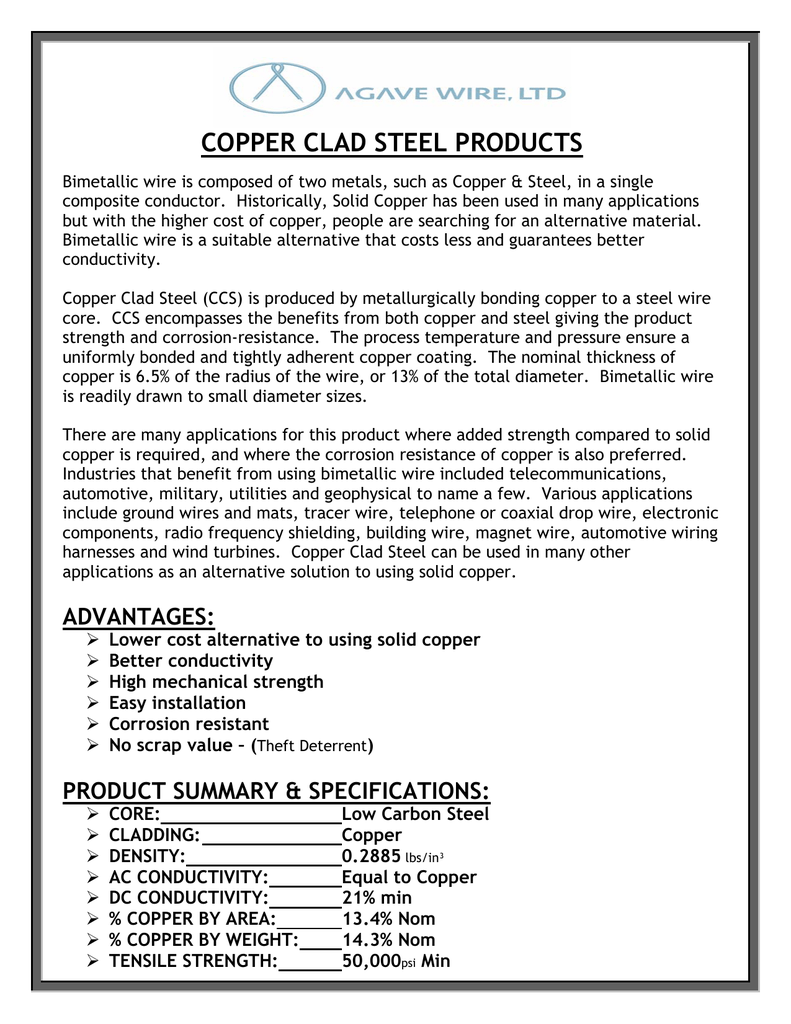 copper clad steel products