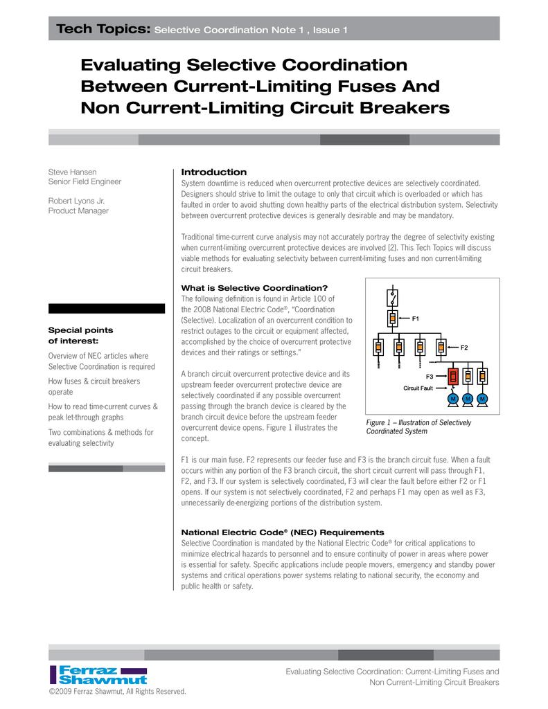 Evaluating Selective Coordination Between Current Limiting Circuit