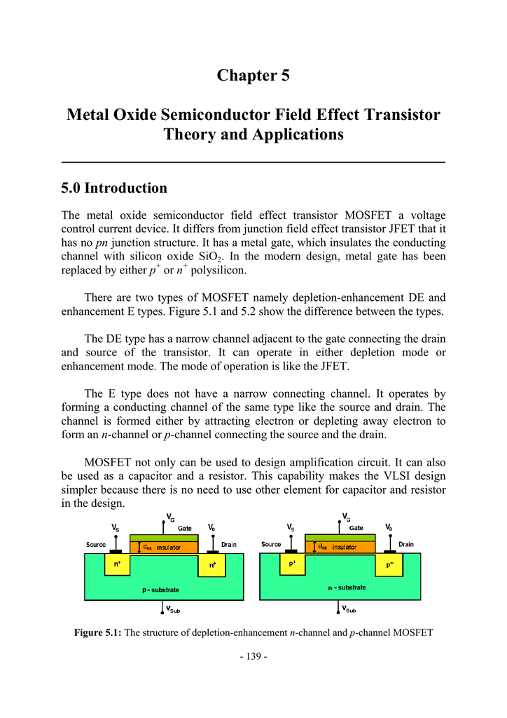 Chapter 5 MOSFET Theory and Applications