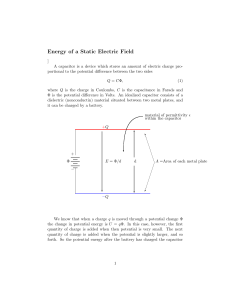 Energy of a Static Electric Field - Department of Physics | Oregon