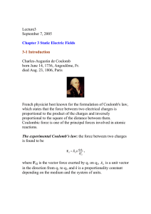 Lecture3 September 7, 2005 Chapter 3 Static Electric Fields 3