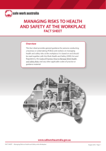 Managing risks to health and safety at the workplace fact sheet